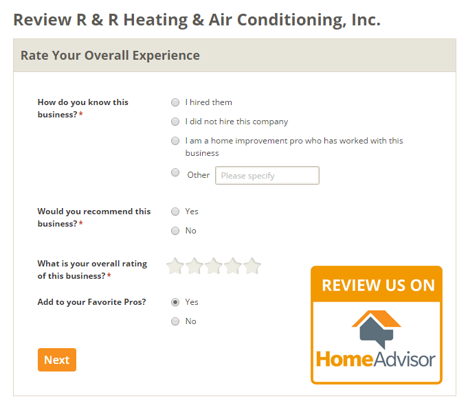 Write A Review On Home Advisor - R&R Heating and Air Conditioning
