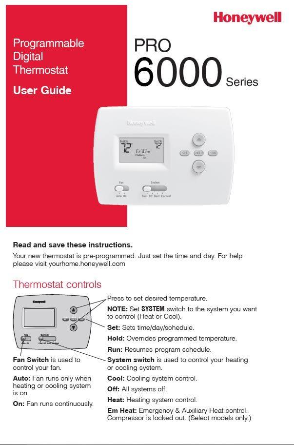 Honeywell Pro 6000 Series Manual - Spokane, WA